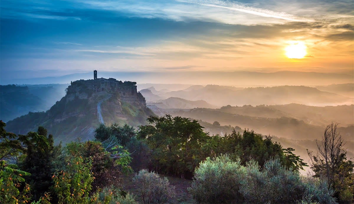 View of the old town of Bagnoregio before sunrise